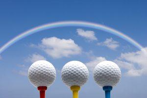 ゴルフボールと虹
